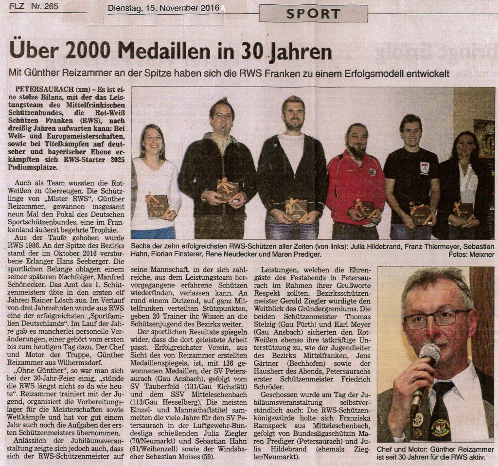 Bericht in der FLZ zum 30jährigen RWS-Jubiläum